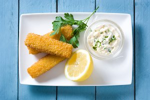 Crispy fried fish fingers