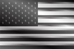 American flag silver background