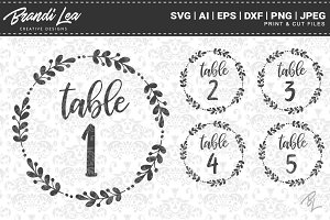 Wreath Table Number Cut Files
