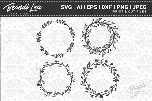 Hand Drawn Wreaths Cut Files