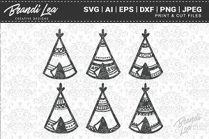 Hand Drawn Teepees Cut Files