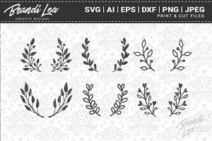 Hand Drawn Laurels Cut Files