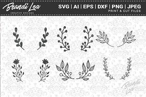 Hand Drawn Laurels Cut Files