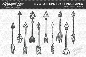 Hand Drawn Arrow Cut Files