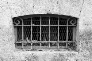 Iron Ancient Window in Black White