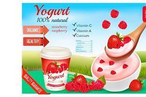Fruit yogurt advert concept