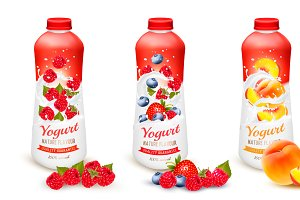 Fruit yogurt with advert concept