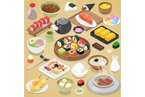 Japanese food vector eat sushi sashimi roll or nigiri and seafood with rice in Japan restaurant illustration Japanization cuisine with chopsticks set isolated on background