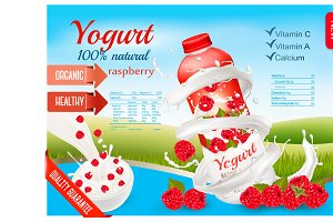 Fruit yogurt with advert concept