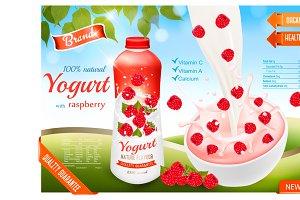 Fruit yogurt advert concept