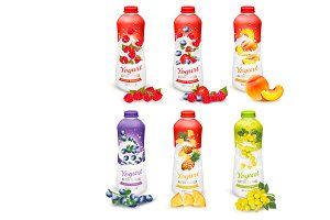Set of yogurt in bottles with fruit