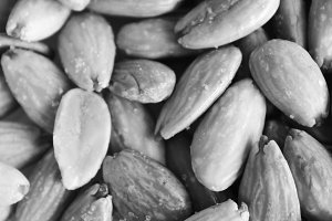 Almonds Background in Black White