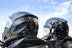 two helmets of race car