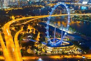 Singapore Ferries Wheel at twilight