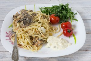 Dish of pasta and mushrooms.