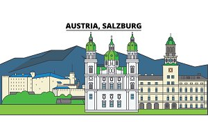 Austria, Salzburg. City skyline, architecture, buildings, streets, silhouette, landscape, panorama, landmarks. Editable strokes. Flat design line vector illustration concept. Isolated icons