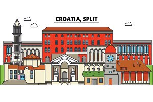 Croatia, Split. City skyline, architecture, buildings, streets, silhouette, landscape, panorama, landmarks. Editable strokes. Flat design line vector illustration concept. Isolated icons