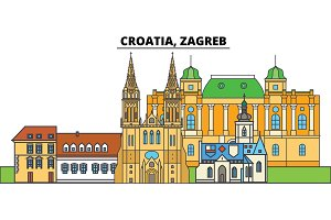Croatia, Zagreb. City skyline, architecture, buildings, streets, silhouette, landscape, panorama, landmarks. Editable strokes. Flat design line vector illustration concept. Isolated icons