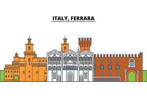 Italy, Ferrara. City skyline, architecture, buildings, streets, silhouette, landscape, panorama, landmarks. Editable strokes. Flat design line vector illustration concept. Isolated icons