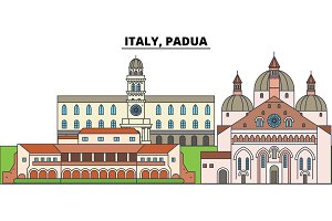 Italy, Padua. City skyline, architecture, buildings, streets, silhouette, landscape, panorama, landmarks. Editable strokes. Flat design line vector illustration concept. Isolated icons