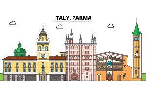 Italy, Parma. City skyline, architecture, buildings, streets, silhouette, landscape, panorama, landmarks. Editable strokes. Flat design line vector illustration concept. Isolated icons