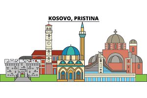 Kosovo, Pristina. City skyline, architecture, buildings, streets, silhouette, landscape, panorama, landmarks. Editable strokes. Flat design line vector illustration concept. Isolated icons