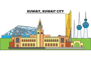 Kuwait, Kuwait City. City skyline, architecture, buildings, streets, silhouette, landscape, panorama, landmarks. Editable strokes. Flat design line vector illustration concept. Isolated icons