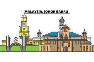 Malaysia, Johor Bahru. City skyline, architecture, buildings, streets, silhouette, landscape, panorama, landmarks. Editable strokes. Flat design line vector illustration concept. Isolated icons