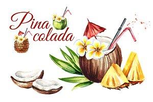 Pina colada. Watercolor collection