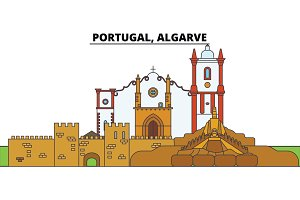 Portugal, Algarve. City skyline, architecture, buildings, streets, silhouette, landscape, panorama, landmarks. Editable strokes. Flat design line vector illustration concept. Isolated icons