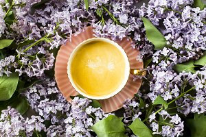 Lilac and a cup of coffee