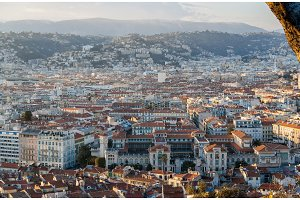 View of Nice city with Lycee Massena - French Riviera