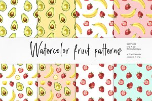 Watercolor Fruit Pattern Set