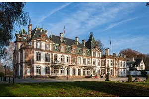 Chateau (Castle) de Pourtales in Robertsau near Strasbourg, Alsa