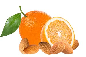 Oranges and almond isolated on white