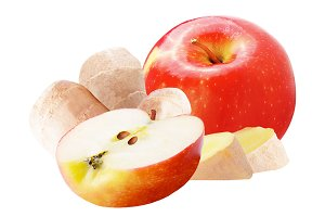 Isolated apple and ginger on white