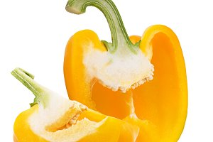 Half and quarter sweet yellow pepper