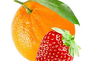 Fresh sweet strawberry and orange