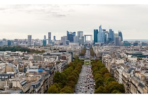 View from the Arc de Triomphe towards business district La Defen