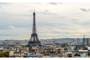 View of the Eiffel Tower from the Arc de Triomphe. Paris, France