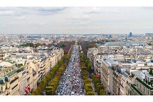 Avenue des Champs-Élysées as seen from the Arc de Triomphe. Pa
