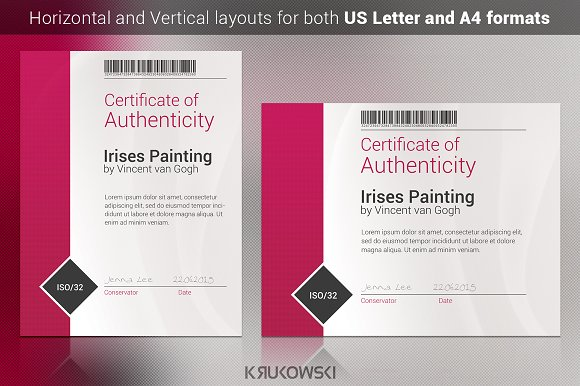 Certificate of authenticity template stationery templates certificate of authenticity template stationery templates creative market yelopaper Images