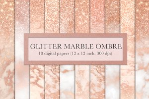 Rose gold marble glitter ombre