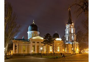 Odessa Orthodox Cathedral at night