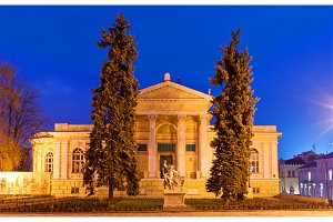 Odessa Archeological Museum at night. Ukraine
