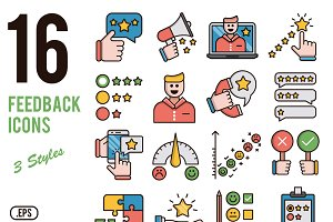 Feedback vector icons set