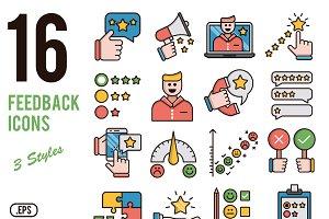 Feedback vector icons set