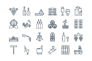 04 Outline WINE PRODUCTION icon set