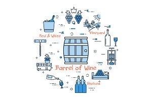 Blue round banner - barrel of wine