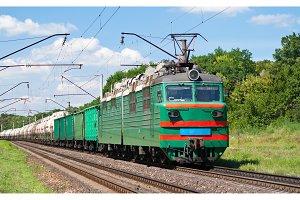 Electric locomotive pushing a cargo train